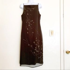 LOFT Dark Brown Sleeveless Shift Dress Lined Sz8